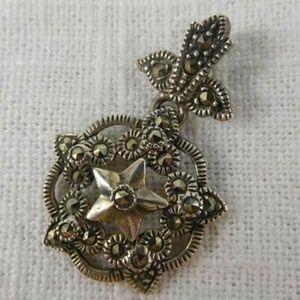 Vintage Marcasite Silver Star Pendant